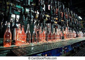 fábrica de vidrio, botellas, botella, fila