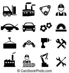 fábrica, e, indústria, ícones