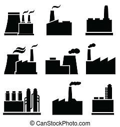 fábrica, e, industrial, edifícios