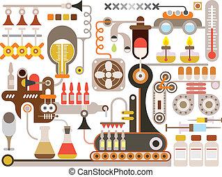 fábrica farmacéutica, médico, laboratorio