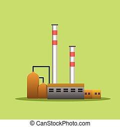 fábrica, industrial, edifícios, plantas poder, vetorial