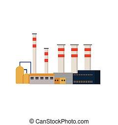 fábrica, industrial, edificios, centrales eléctricas, vector