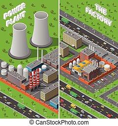 fábrica, planta, industrial, isometric, bandeiras verticais
