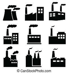 fábrica, planta poder, industrial, ícones