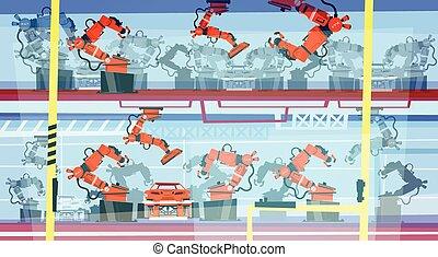 fábrica, producción, elegante, transportador, robótico,...