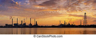 fábrica, refinería, aceite