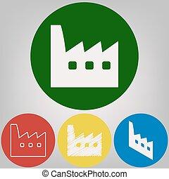 fábrica, señal, illustration., vector., 4, blanco, estilos, de, icono, en, 4, coloreado, círculos, en, gris ligero, fondo.