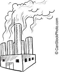 fábrica, vector, contaminación