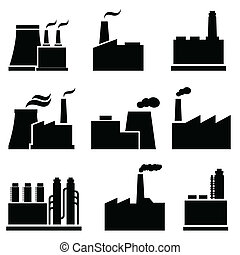 fábrica, y, industrial, edificios
