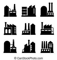 fábrica, y, potencia, edificio industrial, icono, conjunto, 2., vector