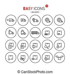 fácil, ícones, 37b, entrega