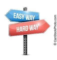 fácil, difícil, ilustração, sinal, desenho, maneira, maneira