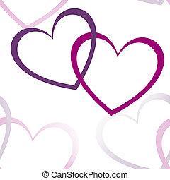 fácil, dos, diseño, plano de fondo, corazones, línea blanca