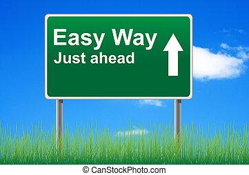fácil, maneira, conceito, sinal estrada, ligado, céu, experiência.