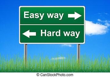 fácil, maneira, difícil, way., conceito, sinal estrada, ligado, céu, experiência.