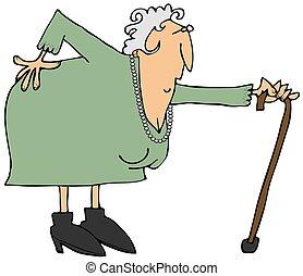 fájó, nő, öreg, hát