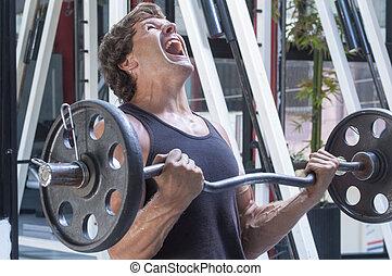 fájdalmas, kar, tréning