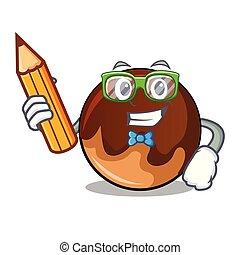 fánk, betű, karikatúra, diák, csokoládé