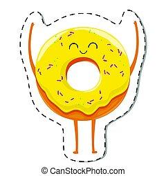 fánk, character., karikatúra, boldog