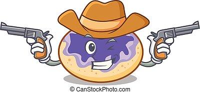 fánk, cowboy, betű, karikatúra, áfonya