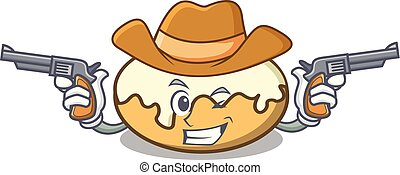 fánk, cukor, betű, karikatúra, cowboy