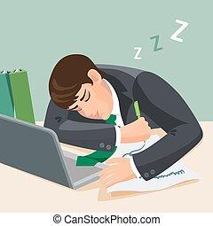 fáradt, bukás, alvás, desk., alva, illeszt, üzletember, ember
