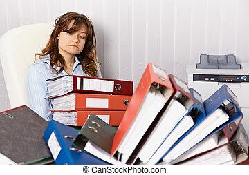 fáradt, könyvelő, munka túlóra, alatt, hivatal