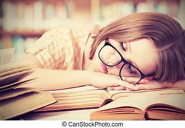 fáradt, könyvtár, alvás, előjegyez, diák, leány, szemüveg