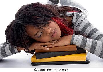 fáradt, tanít lány, alvás, noha, neki, előjegyez