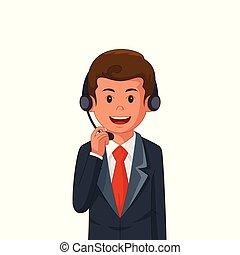 fárasztó, üzletember, ábra, fejhallgató