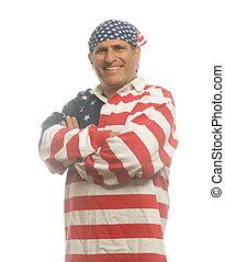 fárasztó, amerikai, hazafias, ember, ing, lobogó, nemzeti