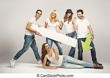 fárasztó, barátok, fehér, csoport, trikó