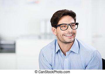 fárasztó, el, figyelmes, látszó, időz, üzletember, szemüveg