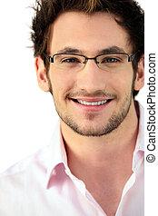 fárasztó, ember, fiatal, szemüveg