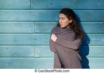 fárasztó, faj, nő, neki, meleg, jacket., fiatal, figyelmes, külső, ázsiai, twenties., kevert, leány, kaukázusi