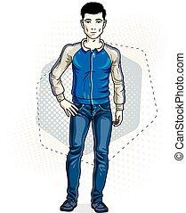 fárasztó, farmernadrág, jacket., öltözék, nadrág, ábra, fiatal, magabiztos, standing., vektor, ember, hím, brunet, kényelmes, jelentékeny