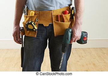 fárasztó, fizikai munkás, toolbelt