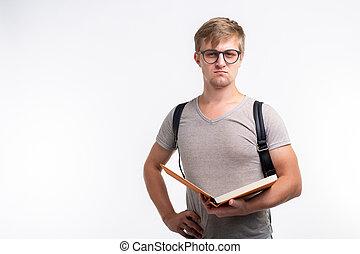 fárasztó, fogalom, kinyitott, egyetem, diák, emberek, -, hely, oktatás, könyv, hím, háttér, mosolygós, másol, fehér, szemüveg