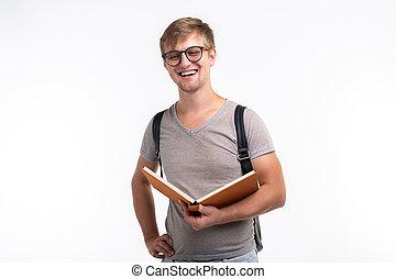 fárasztó, fogalom, kinyitott, egyetem, diák, emberek, -, oktatás, könyv, háttér, mosolygós, hím, fehér, szemüveg