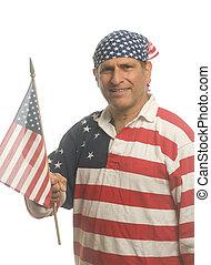 fárasztó, ing, nemzeti lobogó, amerikai, hazafias, ember