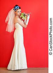 fárasztó, kék, liliomok, frizura, csokor, fog, maszk, hosszú, menyasszony, háttér, white ruha, piros