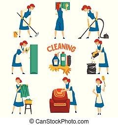 fárasztó, kék, nő, mosás, szolgáltatás, kötény, állhatatos, hölgy, betű, fiatal, ábra, egyenruha, vektor, takarítás, white ruha
