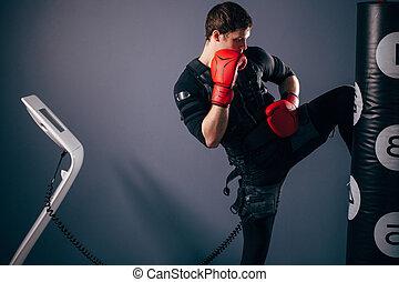 fárasztó, képzés, kick., izgatás, kickboxer, illeszt, térd, ember, elektromos