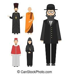 fárasztó, különböző, csoport, betűk, emberek, hagyományos, vallás, vektor, emberi, hazafiságok, öltözék