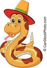 fárasztó, kalap, kígyó