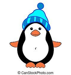 fárasztó, kalap, pingvin