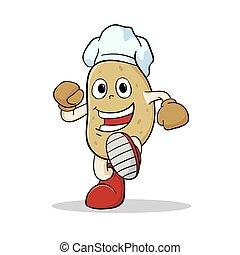 fárasztó, konyhafőnök kalap, krumpli