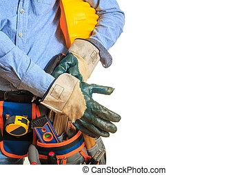 fárasztó, munkás, biztonsági felszerelés