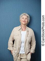 fárasztó, nő, ing, nosztalgiázó, nyersgyapjúszínű bezs, idősebb ember, kényelmes