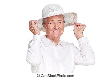 fárasztó, nő, kalap